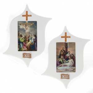 Via Crucis 15 stazioni: tavole legno a stella laccate s9
