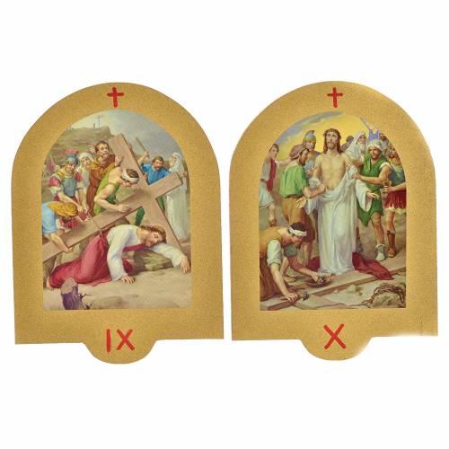 Vía Crucis estampa sobre madera 19x14 cm 15 estaciones s6