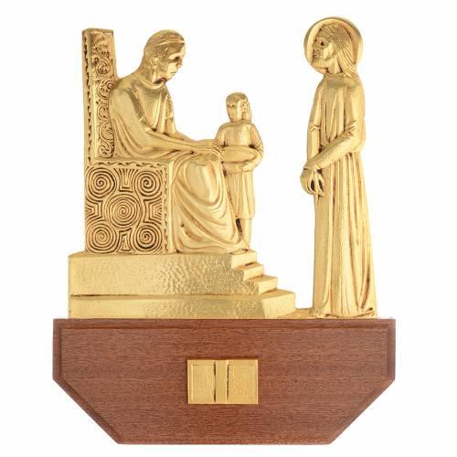 Vía Crucis latón fundido 24x30 cm sobre base 15 es s1