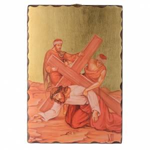 Via Crucis quadretti serigrafati 30x20 cm legno s7