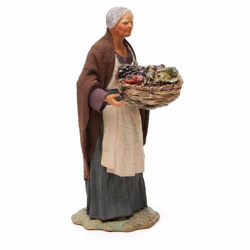 Vieille femme panier fruits et paille 24 cm crèche Naples s4