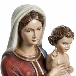 Vierge à l'enfant 60 cm fibre de verre veste rouge s4