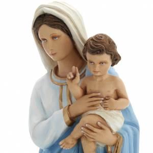 Vierge à l'enfant marbre reconstitué 60cm peinte s3