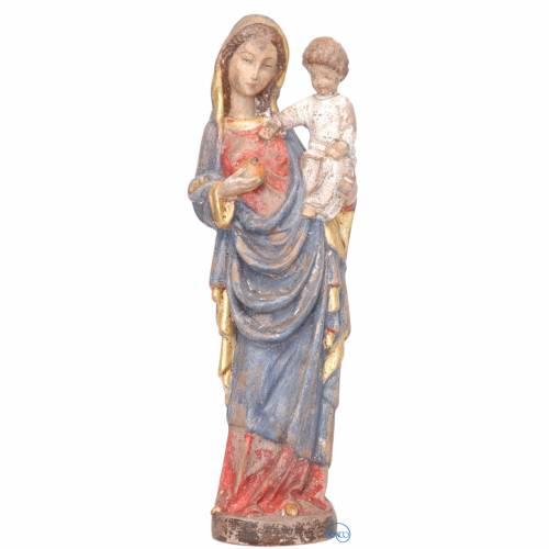 Vierge à l'enfant style gotique bois peint 25 cm s1