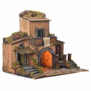 Village crèche napolitaine style 1700 avec portail 48x55x35 cm s2