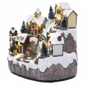 Villages de Noël miniatures: Village de Noël avec ruisseau de fibre et musique 25x25x17 cm