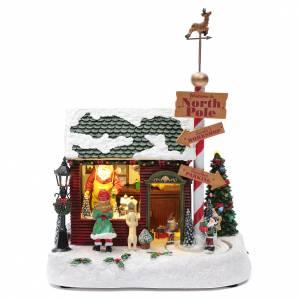 Villaggio natalizio casa Babbo Natale luminoso musicale movimento nani 30X25X17 cm s1