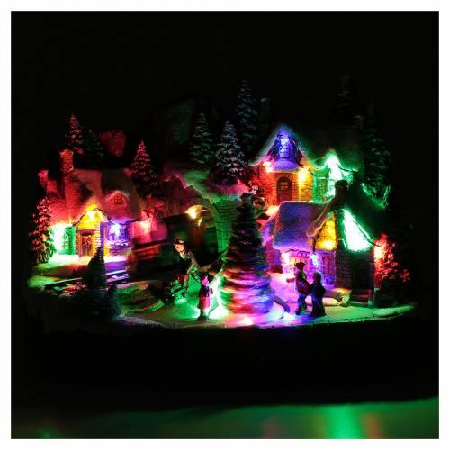 Villaggio natalizio illuminato musicale movimento albero natale 19X31X20 cm s4