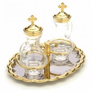 Vinajeras cristal plato níquel y dorado s4