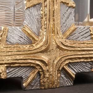 Vinajeras Metal: Vinajeras cruz oro y plata