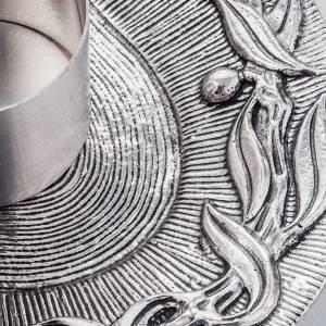 Vinajeras Metal: Vinajeras latón plateado hojas.