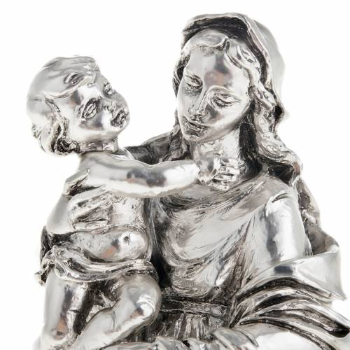Virgin and baby in metal-coloured resin 17cm s2