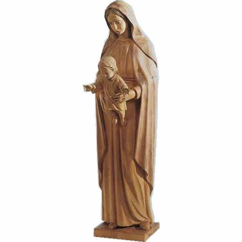 Virgin Mary and baby statue in painted wood, baroque style 70cm s1