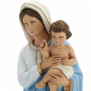 Virgin Mary with Baby Jesus statue, 60 cm in painted marble dust s3