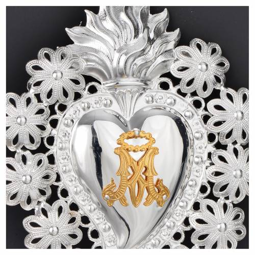 Votive sacred heart with flowers and Marian symbol 15x11cm s2