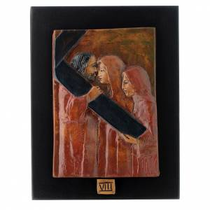 Way of the Cross in majolica backed with dark wood, 14 stations s8