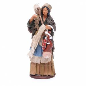 Wayfarer woman with cured meats for Neapolitan Nativity, 14cm s1