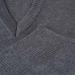 Jacken, Westen, Pullover: Weste V-Kragen dunkel Grau Wolle und Acryl