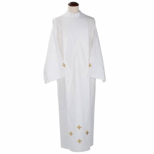 White alb wool cross motif s1