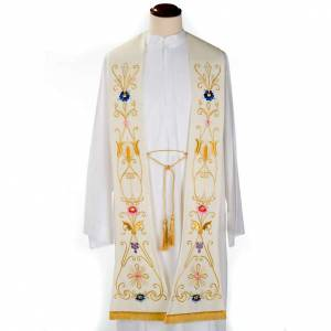 Stoles: White stole in wool, ancient style embroideries colored
