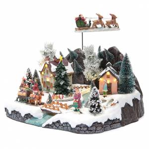 Christmas villages sets: Winter village with Father Christmas's sleigh 30x25x25 cm