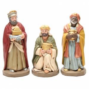 Terracotta Nativity Scene figurines from Deruta: Wise Men golden Terracotta nativity 30cm