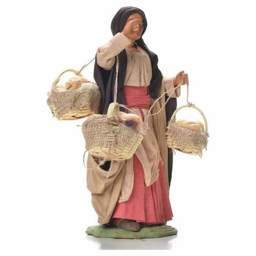 Woman with bread baskets, Neapolitan Nativity 24cm s4
