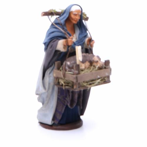 Woman with dog basket for Neapolitan Nativity, 14cm s3