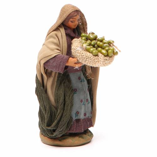 Woman with olives basket in hands 10cm neapolitan Nativity s3