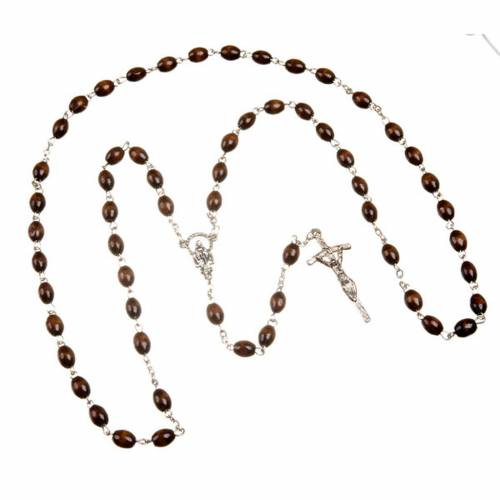 Wood rosary with oval 7mm beads s3