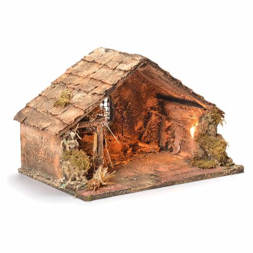 Wooden and straw cabin, Neapolitan Nativity 26x40x29cm s2