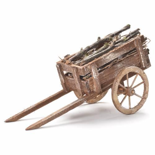 Wooden cart, Neapolitan Nativity 12x20x8cm s1