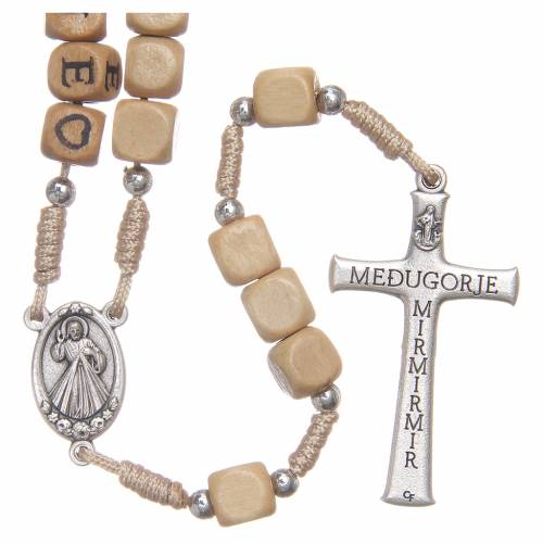 Wooden rosary with Medjugorje writing s2