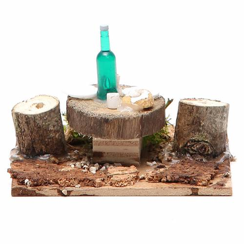 Wooden table with base for nativities measuring 2.5x9x9cm, assorted models s5