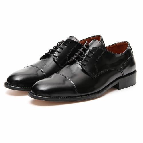 Zapatos de cuero abrasivado negro punta cortada s5