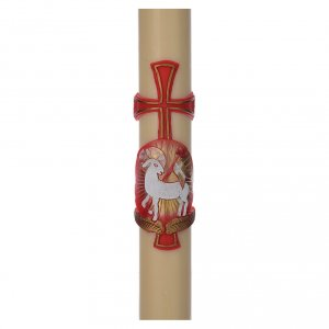 STOCK Paschal Candle in beeswax with lamb and cross 8x150cm s1