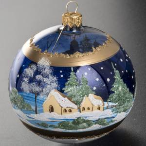 Christmas tree bauble glass blue background, 10cm s3