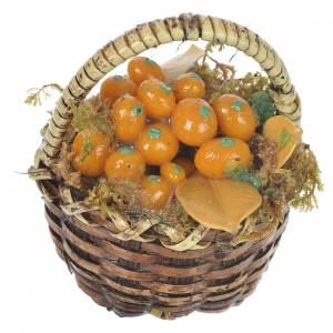Miniature food: Accessory for nativities of 20-24cm, basket with orange fruits in wax