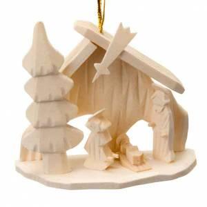 Decorazioni albero in legno e pvc: Addobbo Sacra Famiglia capanna da appendere