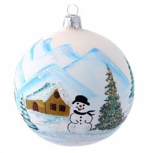 Palline di Natale: Addobbo vetro 100 mm paesaggio con glitter