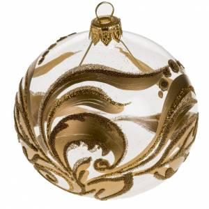Bolas de Navidad: Adorno árbol vidrio pintado decoraciones doradas 8 cm.