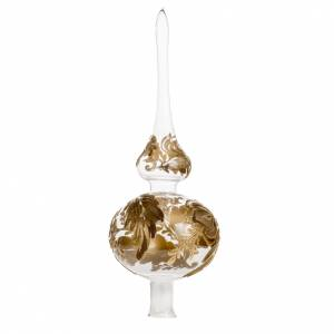 Adorno navidad forma punta, vidrio transparente pintado a mano s1