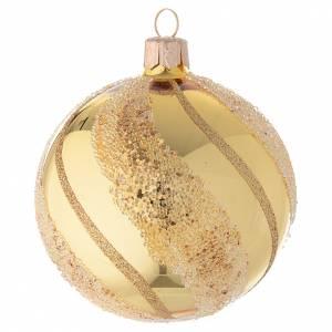 Bolas de Navidad: Adorno Navideño bola vidrio oro glitter 80 mm