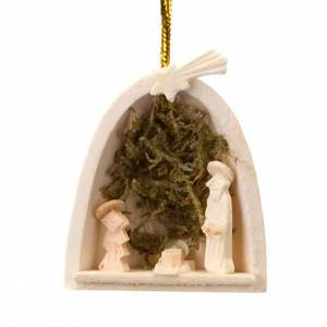 Adornos de madera y pvc para Árbol de Navidad: Adorno Sagrada Familia con musgo para colgar