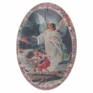 Magnets religieux: Aimant en verre ovale avec Ange gardien