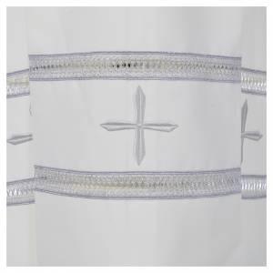 Albas litúrgicas: Alba marfil 100% pol. bordado griz azul cremallera hombro