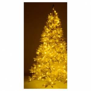 Albero di Natale 200 cm avorio 400 luci led glitter oro s5