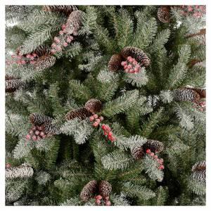 Albero di Natale 210 cm Slim neve floccato bacche pigne Dunhill s2