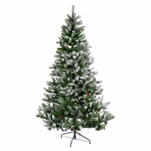 Albero di Natale 270 cm floccato pigne Oslo s1