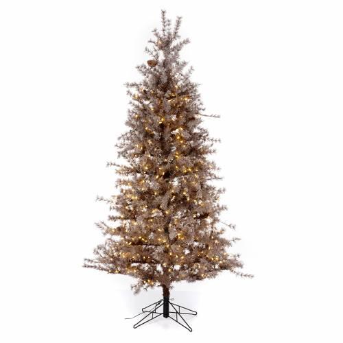 Albero di Natale marrone antico 200 cm brinato e pigne 300 led s1